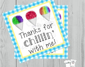 Instant Download Snow Cone Printable Tag, Instant Download, Printable, Square, Gift Tag, Thank You for Chillin' with me