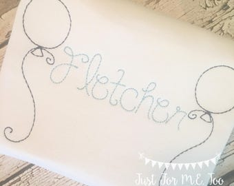 Personalized  Birthday Shirt or Bodysuit- Vintage stitch balloon- Balloon Birthday Shirt- Vintage birthday-  FREE MONOGRAM