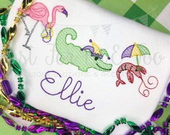 Personalized Mardi Gras embroidery Shirt, Mardi Gras Shirt, Flamingo, Alligator, crawfish, Vintage Mardi Gras Shirt, Mardi Gras Beads