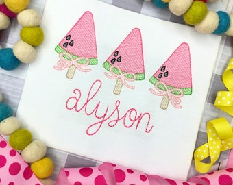 Personalized Popsicle Sketch Embroidery Shirt for girls, Watermelon Popsicle Trio, Embroidered, Summer, Watermelon with a Bow, Girls