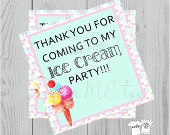 Instant Download Birthday Printable  Ice Cream Tag, Instant Download, Printable, Square, Gift Tag, Thank You