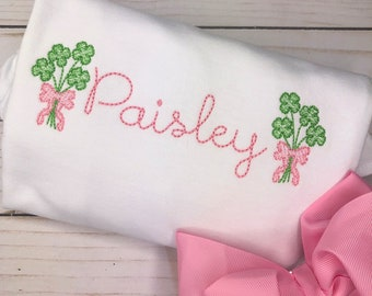 Personalized St Patrick's Day Shirt or Bodysuit, Shamrock Bundle with a bow, Applique, Sketch Shamrock with a bow, Embriodered, Bow Clover