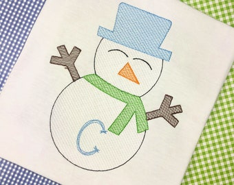 Personalized Snowman Shirt, Sketch Snowman, Winter Applique, Snowman Applique, Boy Snowman, Snow Shirt, Winter Shirt