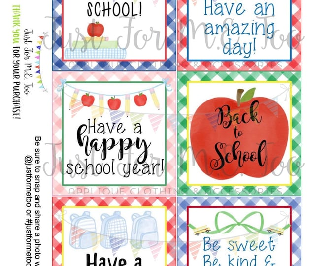 Featured listing image: Back to School Printable Tags, Back to School, First Day of School Tags, School Tags, Lunchbox Notes