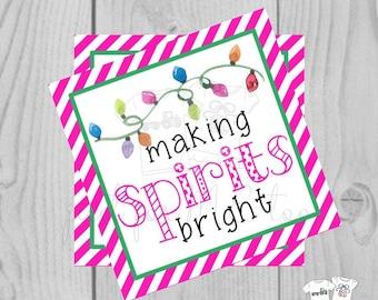 Making Spirits Bright Pink Christmas Printable Tag, Instant Download, Gift Tag, Christmas Tag, Christmas Lights Tag