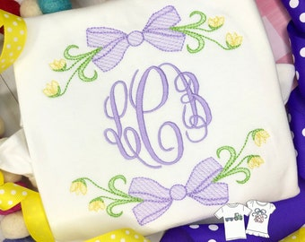 Personalized Floral Frame Monogram shirt, Vintage Stitch Monogram frame, Embroidered, Monogram, Girl Shirt, Sketch monogram, Free shipping