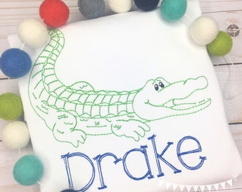 Personalized Alligator shirt, Gator Applique, Vintage Alligator Shirt,  boys Alligator shirt, Go Gators, monogram
