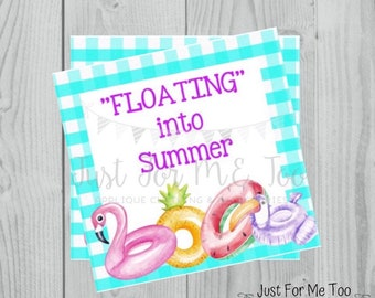 End of School Printable Tags, Floating Into Summer, Instant Download, Summer Tags, Float Tags, Summer, Pool Party