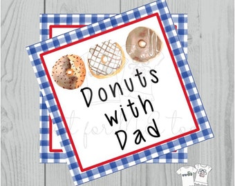 Printable Tags, Instant Download, Thank You Tags, Square Gift Tags, Father's Day Tag, Donuts with Dads Tag