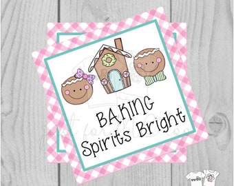 Christmas Printable Tags, Instant Download, Christmas Tags, Cookie Exchange, Merry Christmas, Baking Spirits Bright, Gingerbread Cookie