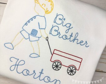 Personalized Big Brother Shirt- Makes a great Gift- Vintage Stitch Sibling shirt- Big Brother wagon- FREE SHIPPING