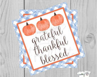 Thanksgiving Printable Tags, Instant Download, Grateful Thankful Blessed, Pumpkin Gift Tags, Printable, Thanksgiving, Blue Gingham