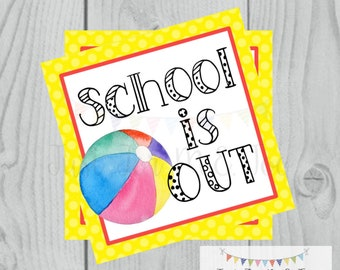 Instant Download Printable Beach Ball Tag, School is Out,  Summer Party Tag, Summer Printable, Summer Tag, Instant Download, End of School