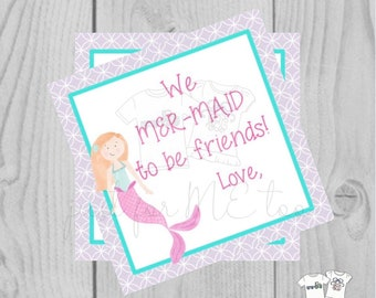 Valentine Digital Download Tag, Valentine Gift Tag, Mermaid Tag, Girl Valentine Tag, Printable Tag, We Mer-Maid to be Friends, Mermaid
