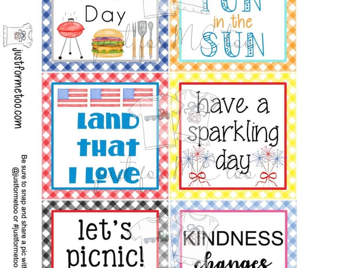 Featured listing image: June Bundle Printable Tag Bundle, Digital Tags, Gift Tag, Summer Tag, Pintable, Download, Gift Tags, Patriotic Tag, Father's Day, Picnic