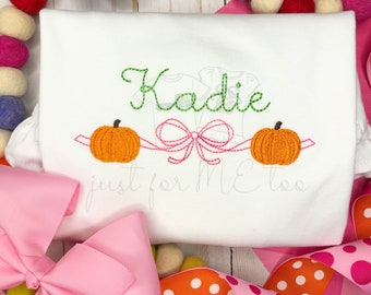 Personalized Girls pumpkin bow Shirt- Vintage Sketch Stitch- Fall Shirt- Halloween- pumpkin- monogram Shirt- ruffle- FREE SHIPPING