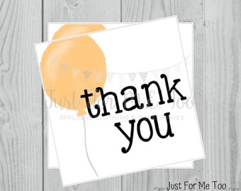 Instant Download Printable Thank You Tags, Printable Thank You Party Tags, Orange Balloon Tag, Birthday Favor Tag