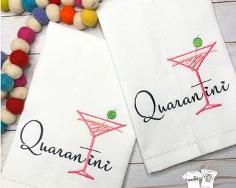 Quarantini Embroidered Hand Towel, Bathroom Hand Towel, Decorative Towel, Martini Towel, Cotton Hand Towel, Bunco Gift, Social Distance