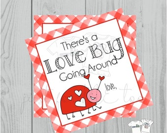 Valentine Printable Tags, Instant Download, Valentine's Day Tags, Square Gift Tags, Teacher Tag, Love Bug Tag, Treats, School Tag