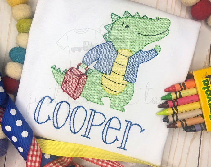 Featured listing image: Personalized Alligator School shirt, Back to School Gator, Vintage Alligator Shirt,  boys Alligator shirt, School Alligator
