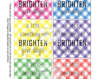Printable Tags, Brighten Your Day, Instant Download, Girlfriend Tags, Teacher Tags, Lunchbox Note, Student Tag, Friendship, Square Tags