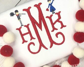 Personalized Girls monogram  shirt, Magical Mary, Nanny, Chimney Sweep, Nanny Shirt, monogrammed, broom
