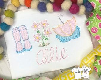 Personalized Spring Sketch Shirt- Vintage stitch Rain Boots, Flowers, Umbrella- Rain Trio Shirt- Vintage Spring shirt- embroidery, Free Ship