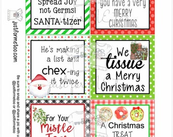 Christmas Printable Tags, Instant Download, Christmas Tags, Square Gift Tags, Merry Christmas, Teacher Gifts, Small Gifts, Treats