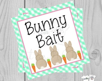 Easter Bunny Printable Tags, Easter Favor Tags, Bunny Bait, Happy Easter Tag, Printable Tags, Party Favors, Mint