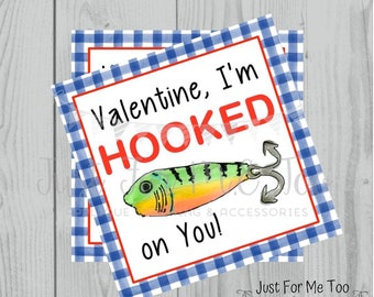 Valentine Printable Tags, Instant Download, Valentine's Day Tags, Square Gift Tags, Classroom Tag, Fish Tag, Treats, I'm Hooked On You Tag