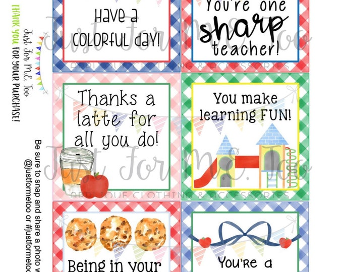 Featured listing image: Back to School Printable Tags, Instant Download, Teacher Tags, Square Gift Tags, Teacher Appreciation, Teacher Gifts, Small Gifts, Treats
