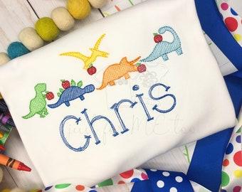 Personalized School Dinosaur shirt, Dino with Apple, Personalized Dinosaur, Boys Back to School Shirt, Dinosaur Shirt