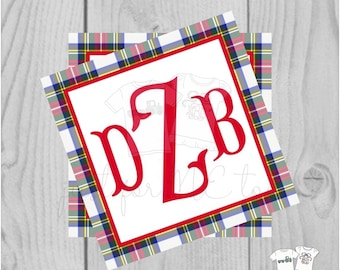 Personalized Christmas Gift Tag, Personalized Tag, Tartan Plaid Gift Tag, Christmas Tag, Personalize, Monogram Christmas Tag