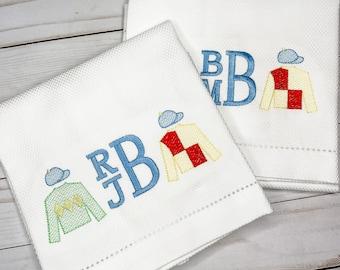 Derby Hand Towel, Decorative Towel, Tea Towel, Cotton Towel, Hostess, Embroidery, Bar Cart, Kentucky Derby, Jockey Monogrammed Hand Towel