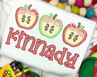 Personalized Apple Embroidered sketch shirt, Apple Slice applique, Back to School, for girls, monogram, embroidered, Apple with bow trio