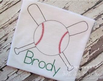 Personalized Boys Baseball Shirt or Bodysuit- Vintage Stitch Baseball and Bat design- Vintage Embroidery- Boys Sports Shirt- FREE MONOGRAM