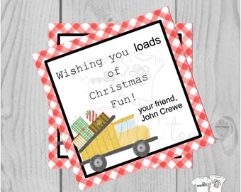 Personalized Christmas Printable Tags, Digital Tag, Construction Truck Christmas Tags, Square Gift Tag, Gingham, Printable, Loads of fun