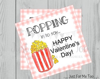 Valentine Printable Tags, Instant Download, Valentine's Day Tags, Square Gift Tags, Classroom Tag, Popcorn Tag, Treats, Popping In