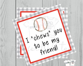 Valentine Printable Tags, Instant Download, Valentine's Day Tags, Square Gift Tags, Classroom Tag, Baseball Tag, I Chews You