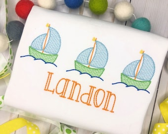 Personalized Boys Sailboat Shirt - Embroidered Beach Trio, Vintage stitch Boat, Nautical, Embroidery, for boys, summer, boat trio