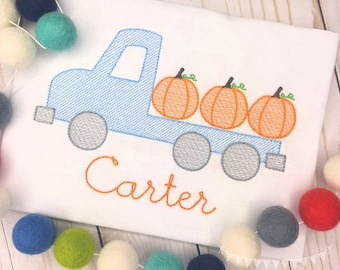 Personalized Pumpkin Truck Sketch Stitch Shirt or Bodysuit, Embroidered, Applique, Fall, Flatbed Pumpkin, Truck Shirt, boy, girl
