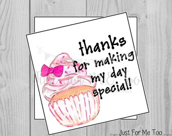 Instant Download Printable Thank You Tags, Printable Thank You Party Tags, Pink Cupcake Tag, Birthday Favor Tag
