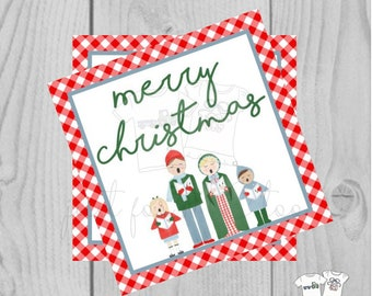 Christmas Carolers Printable Tags, Instant Download, Christmas Tags, Square Gift Tags, Merry Christmas, Caroler Tag, Gift Tag