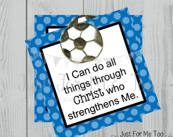 Soccer Printable Tags,Philippians 4:13, Instant Download, School Tags, Cheerleading Tags, Cheerleader, Soccer