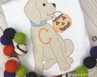 Personalized Halloween Dog Stitch Shirt, Fall Shirt, Pumpkin Applique, Personalized Pumpkin Dog Shirt, Vketch stitch Dog, Jack-O-Lantern