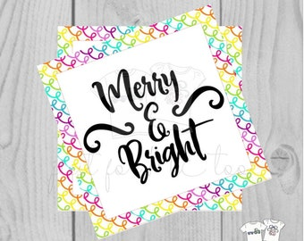 Merry & Bright Christmas Printable Digital Tags, Instant Download, Christmas Tags, Square Tags, Merry Christmas, Printable, Color Christmas