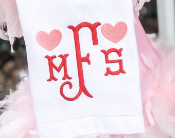 Monogram Hand Towel, Decorative Towel, Tea Towel, Cotton Towel, Hostess Gift, Housewarming Gift, Embroidery, Bar Cart, Valentine Hand Towel