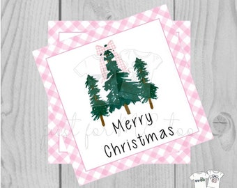 Pink Merry Christmas Printable Tag, Instant Download, Christmas Tag, Pink Gingham, Tree with Bow