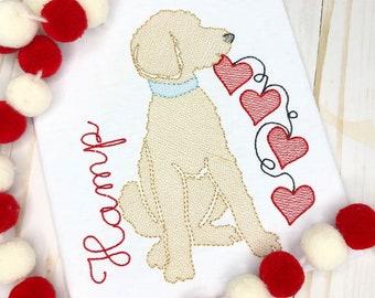 Personalized Valentine's Day Shirt, Valentine Doodle Dog Sketch Shirt, Heart Doodle Dog, Valentine Shirt, Dog Applique