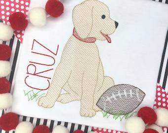 Personalized Football Dog Stitch Shirt, Fall Shirt, football Applique, Personalized Dog Shirt, Sketch stitch Dog, Boys Shirt